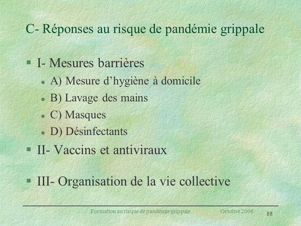 88 Formation au risque de pandémie grippale Octobre 2006 C- Réponses au risque de pandémie grippale §I- Mesures barrières l A) Mesure dhygiène à domic