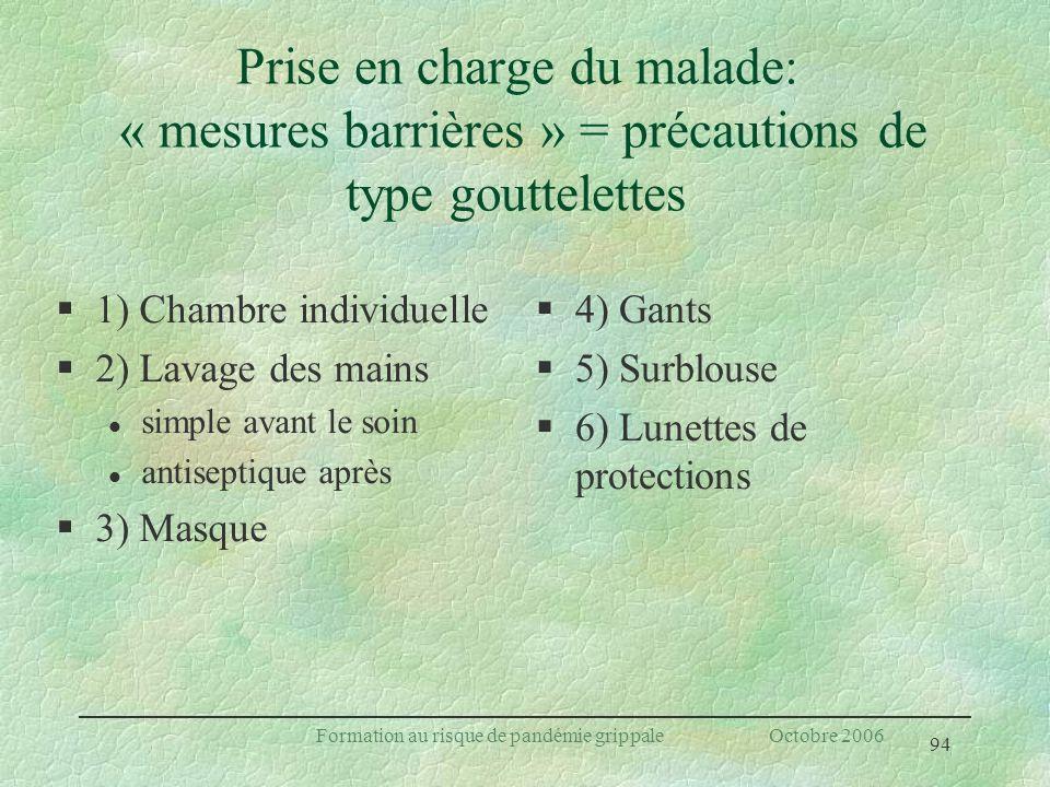 94 Formation au risque de pandémie grippale Octobre 2006 Prise en charge du malade: « mesures barrières » = précautions de type gouttelettes §1) Chamb