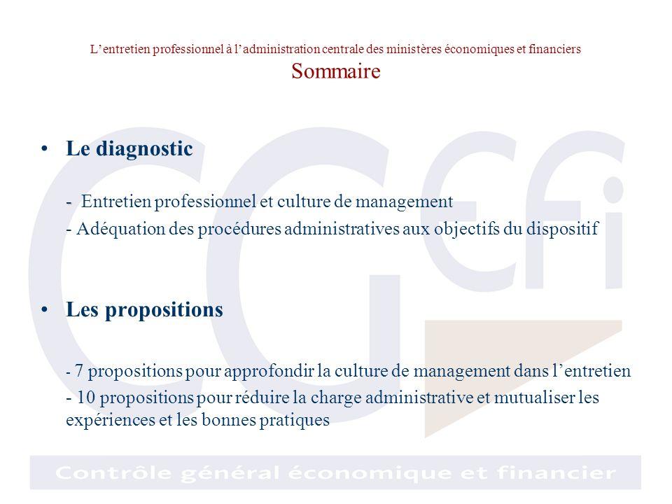 Lentretien professionnel à ladministration centrale des ministères économiques et financiers Diagnostic de la culture de management en matière dentretien Lentretien professionnel est-il accepté.
