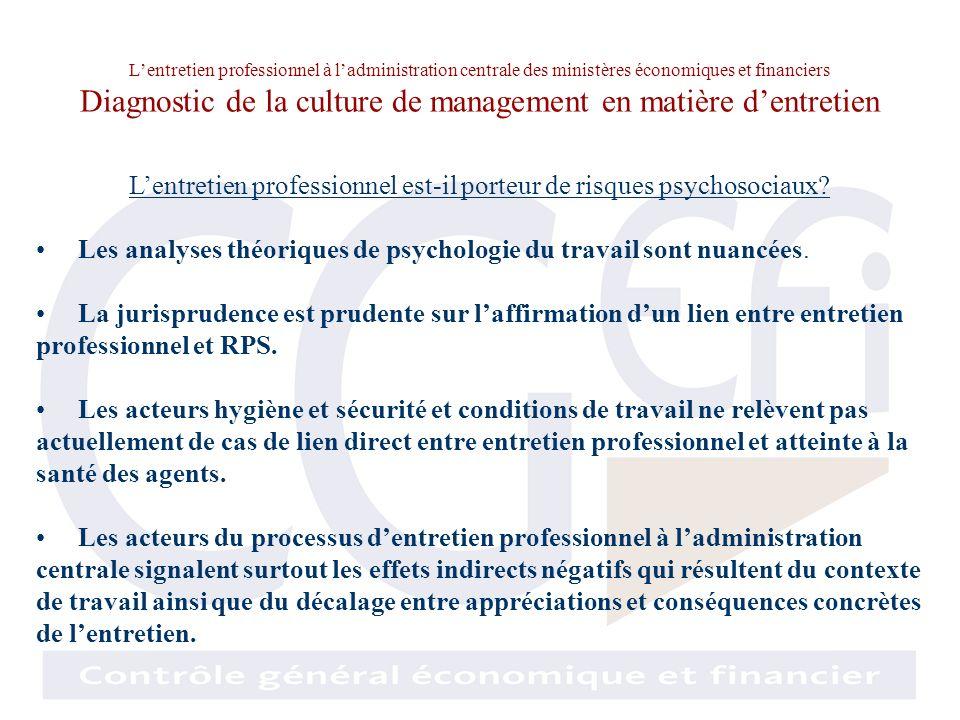 Lentretien professionnel à ladministration centrale des ministères économiques et financiers Diagnostic de la culture de management en matière dentret