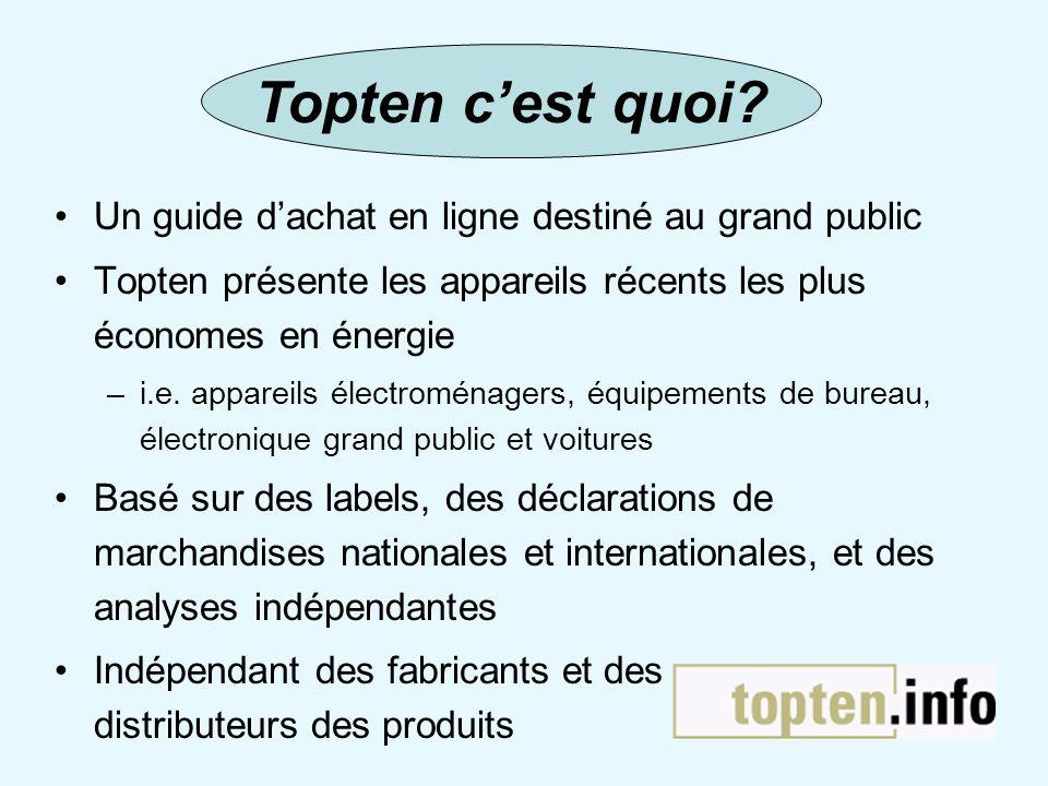 Un guide dachat en ligne destiné au grand public Topten présente les appareils récents les plus économes en énergie –i.e. appareils électroménagers, é