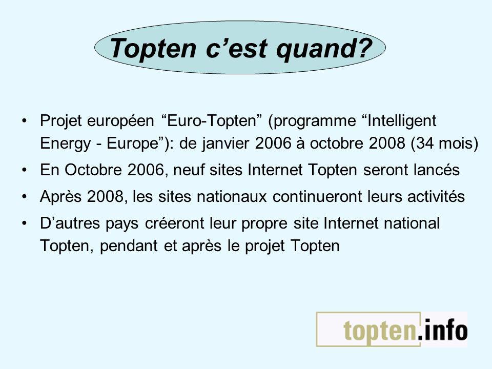 Projet européen Euro-Topten (programme Intelligent Energy - Europe): de janvier 2006 à octobre 2008 (34 mois) En Octobre 2006, neuf sites Internet Top