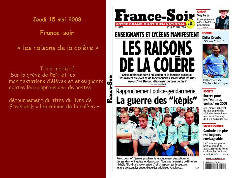 Jeudi 15 mai 2008 France-soir « les raisons de la colère » Titre incitatif Sur la grève de lEN et les manifestations délèves et enseignants contre les