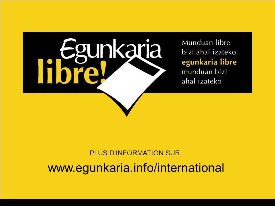 PLUS DINFORMATION SUR www.egunkaria.info/international