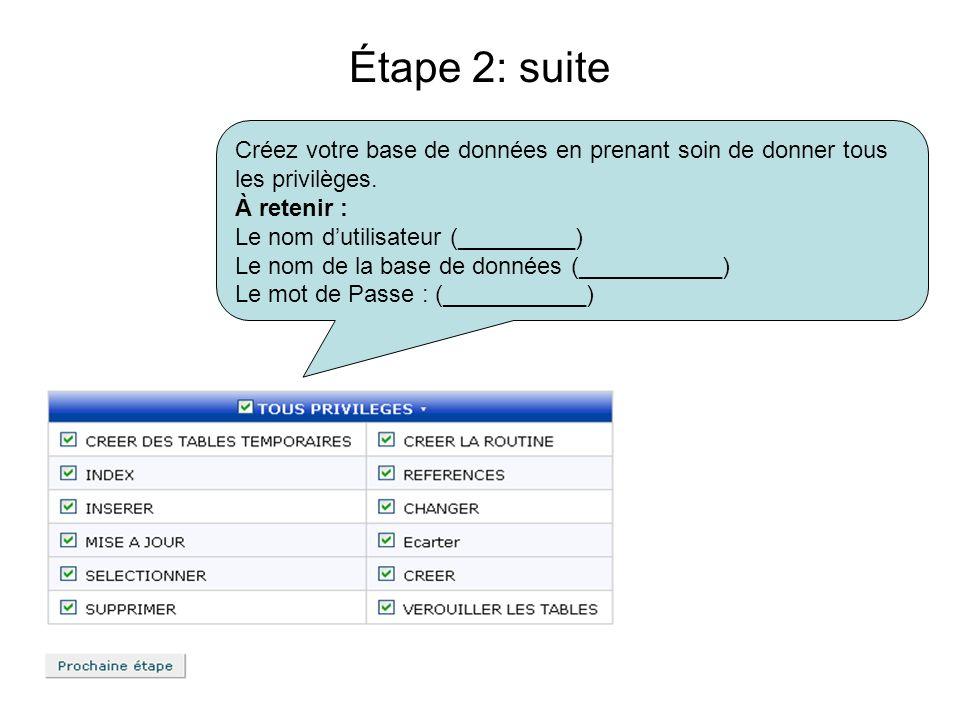 Créez votre base de données en prenant soin de donner tous les privilèges. À retenir : Le nom dutilisateur (_________) Le nom de la base de données (_