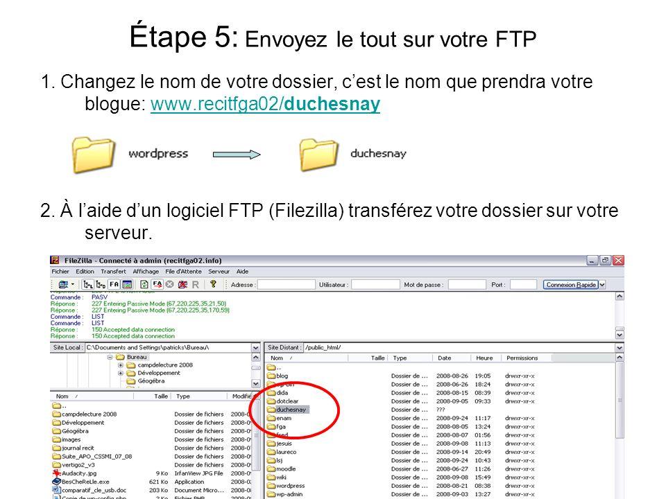 1. Changez le nom de votre dossier, cest le nom que prendra votre blogue: www.recitfga02/duchesnaywww.recitfga02/duchesnay 2. À laide dun logiciel FTP