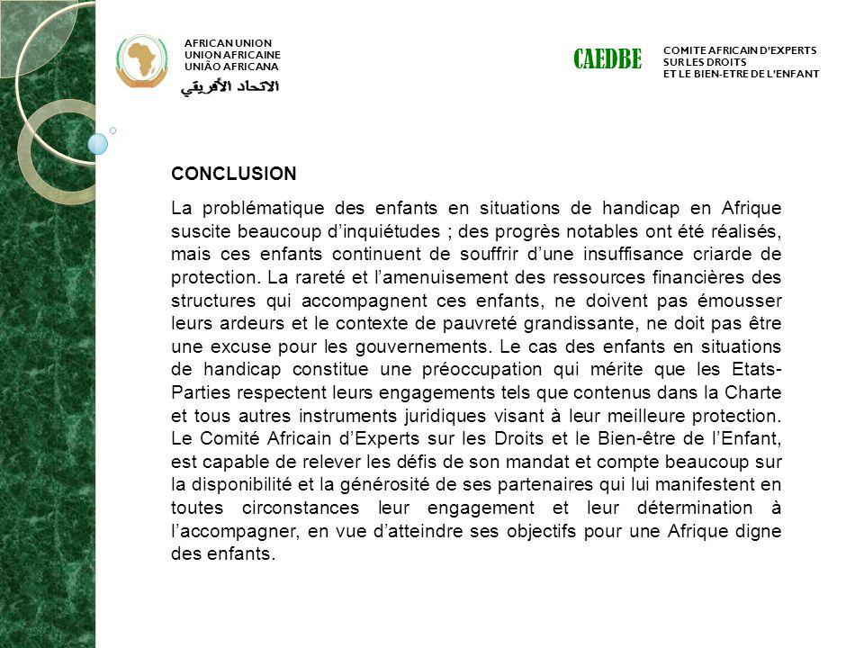 AFRICAN UNION UNION AFRICAINE UNIÃO AFRICANA COMITE AFRICAIN DEXPERTS SUR LES DROITS ET LE BIEN-ETRE DE LENFANT CAEDBE CONCLUSION La problématique des