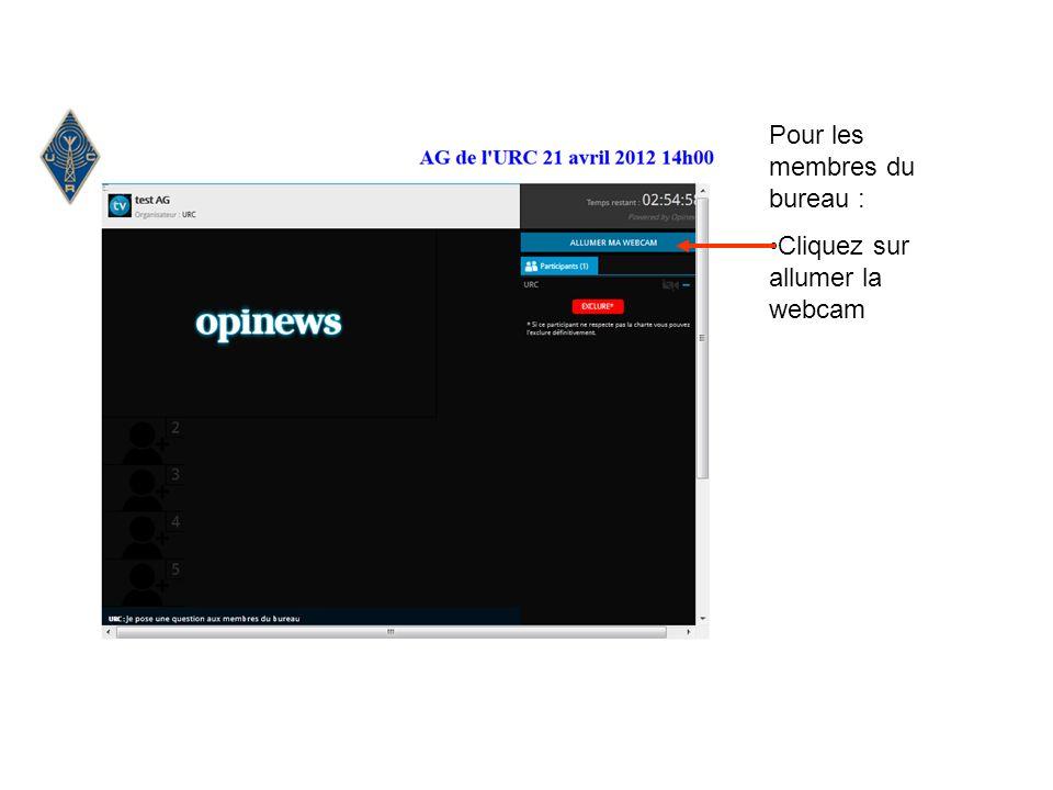 Pour les membres du bureau : Cliquez sur allumer la webcam