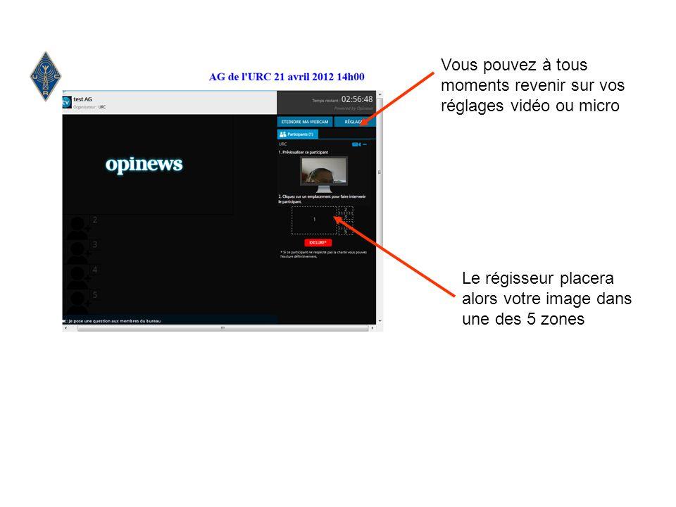 Le régisseur placera alors votre image dans une des 5 zones Vous pouvez à tous moments revenir sur vos réglages vidéo ou micro