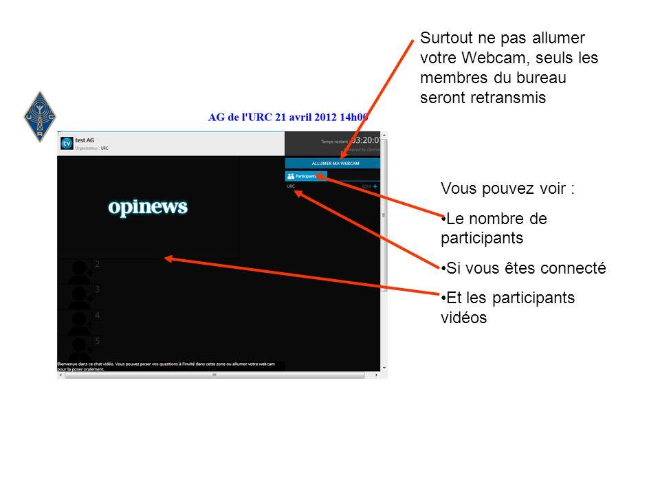 Vous pouvez voir : Le nombre de participants Si vous êtes connecté Et les participants vidéos Surtout ne pas allumer votre Webcam, seuls les membres du bureau seront retransmis