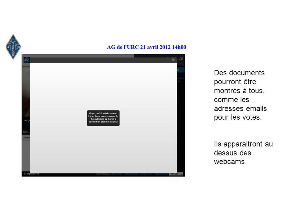 Des documents pourront être montrés à tous, comme les adresses emails pour les votes.