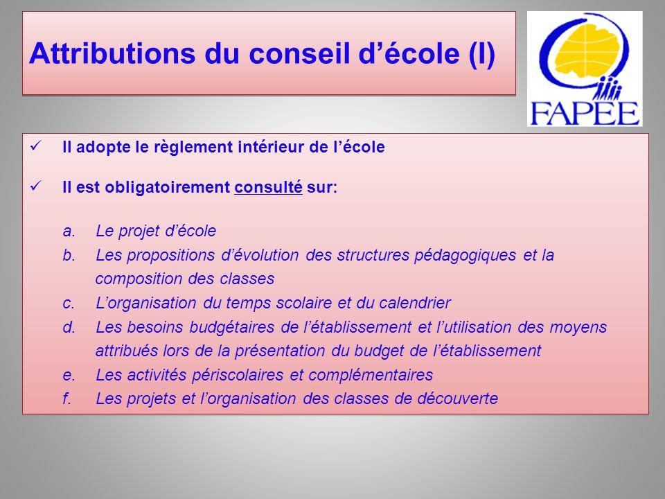 Le conseil de discipline Composition: Deux ou trois représentants des parents délèves, élus parmi les membres titulaires et suppléants du conseil détablissement.