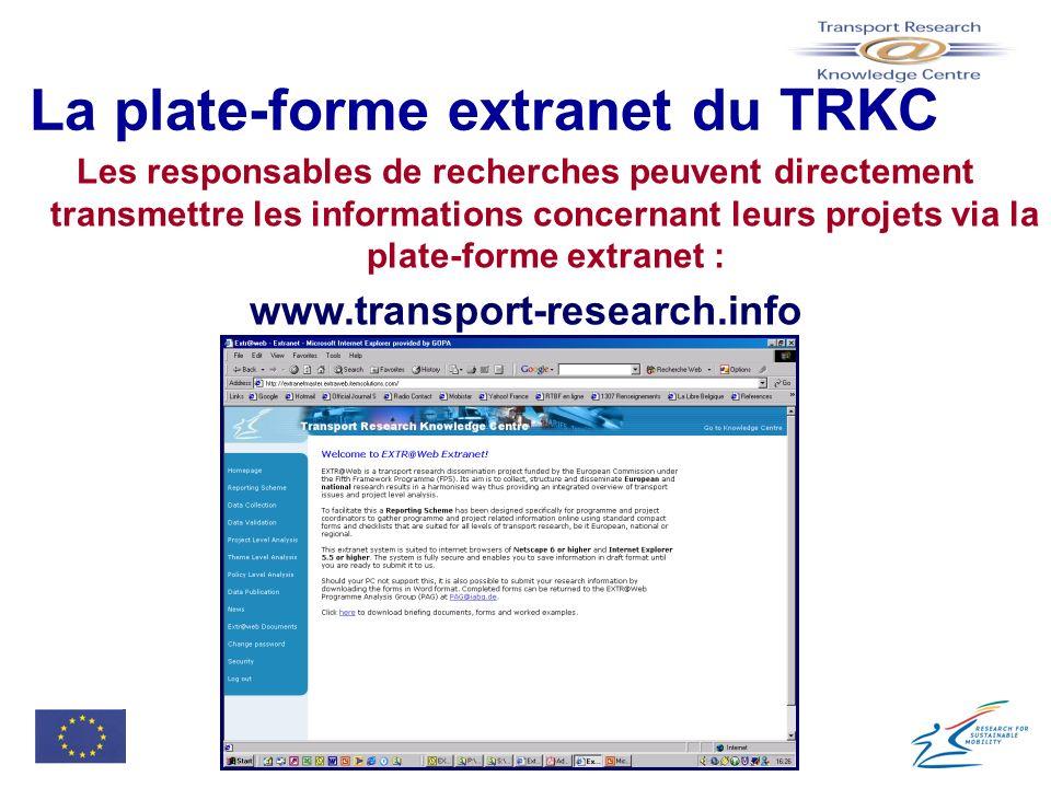 La plate-forme extranet du TRKC Les responsables de recherches peuvent directement transmettre les informations concernant leurs projets via la plate-