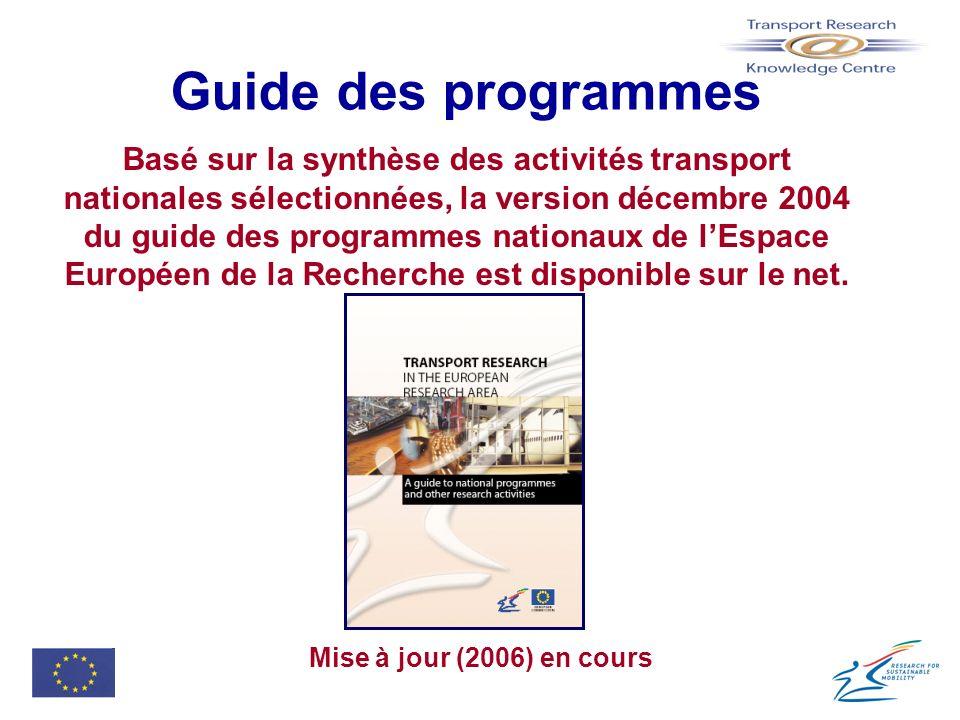 Guide des programmes Basé sur la synthèse des activités transport nationales sélectionnées, la version décembre 2004 du guide des programmes nationaux