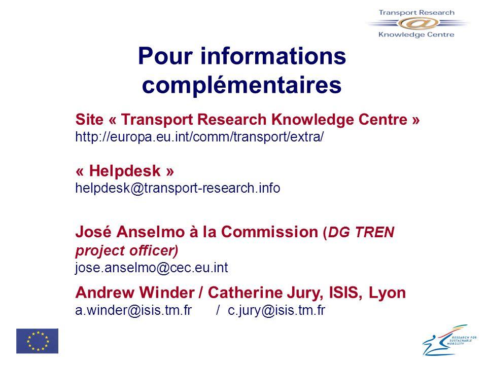 Pour informations complémentaires Site « Transport Research Knowledge Centre » http://europa.eu.int/comm/transport/extra/ « Helpdesk » helpdesk@transp