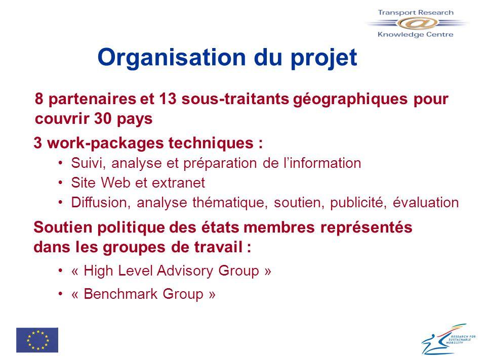 Organisation du projet 8 partenaires et 13 sous-traitants géographiques pour couvrir 30 pays Soutien politique des états membres représentés dans les