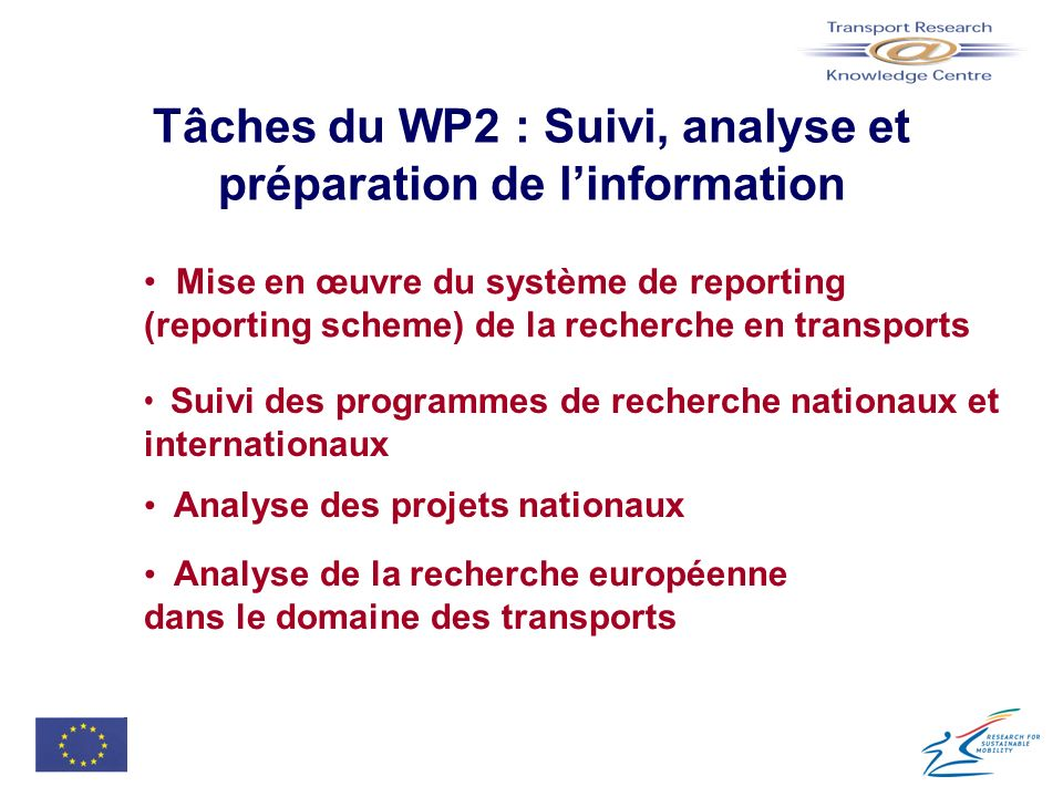 Pour informations complémentaires Site « Transport Research Knowledge Centre » http://europa.eu.int/comm/transport/extra/ « Helpdesk » helpdesk@transport-research.info Andrew Winder / Catherine Jury, ISIS, Lyon a.winder@isis.tm.fr / c.jury@isis.tm.fr José Anselmo à la Commission (DG TREN project officer) jose.anselmo@cec.eu.int