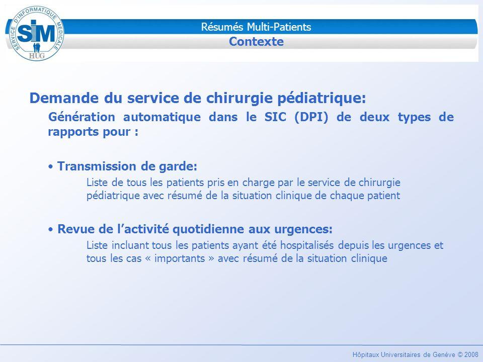 Hôpitaux Universitaires de Genève © 2008 Résumés Multi-Patients Contexte Demande du service de chirurgie pédiatrique: Génération automatique dans le S
