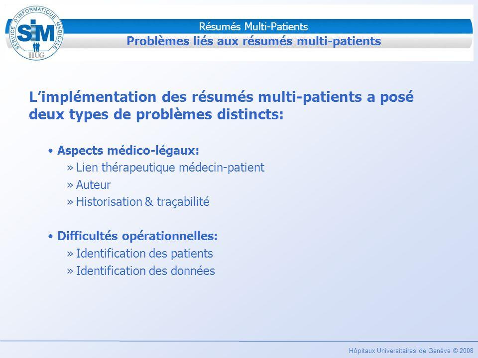 Hôpitaux Universitaires de Genève © 2008 Résumés Multi-Patients Problèmes liés aux résumés multi-patients Limplémentation des résumés multi-patients a