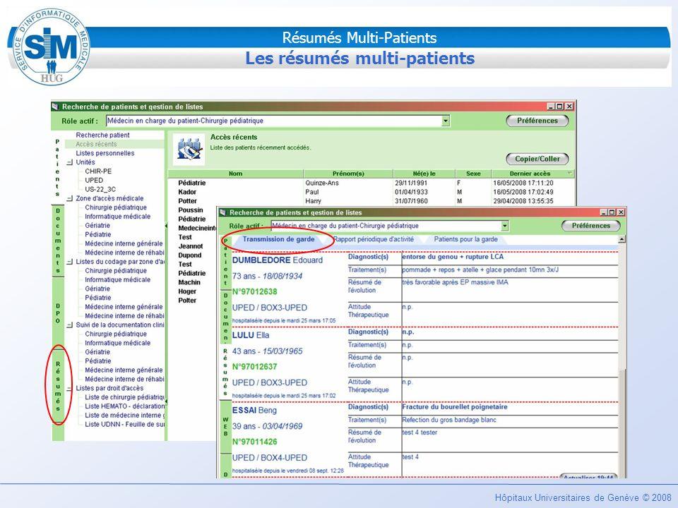 Hôpitaux Universitaires de Genève © 2008 Résumés Multi-Patients Problèmes opérationnels Deux problèmes opérationnels distincts: Lidentification des patients à inclure sur le rapport: »Quels sont les patients hospitalisés hors du service de chirurgie pédiatrique mais suivis par les chirurgiens pédiatres .