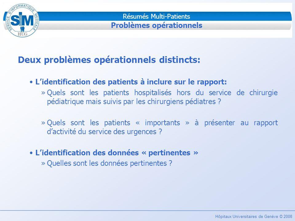 Hôpitaux Universitaires de Genève © 2008 Résumés Multi-Patients Problèmes opérationnels Deux problèmes opérationnels distincts: Lidentification des pa