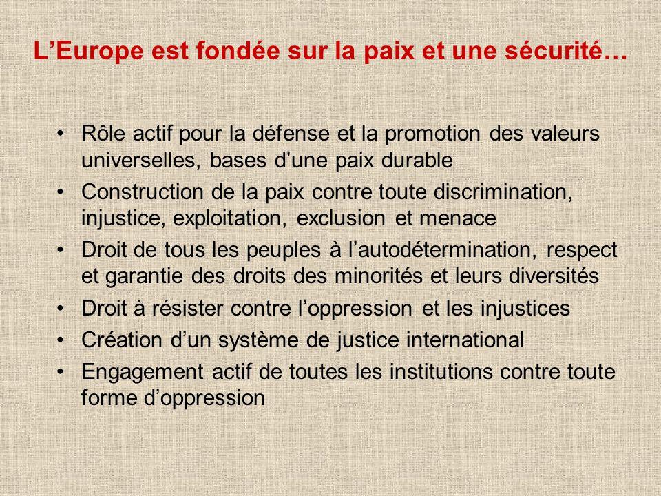 LEurope est fondée sur la paix et une sécurité… Rôle actif pour la défense et la promotion des valeurs universelles, bases dune paix durable Construct