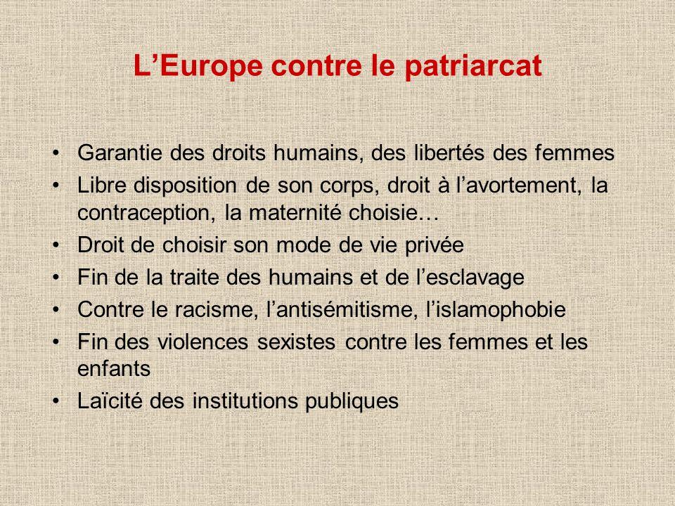 LEurope contre le patriarcat Garantie des droits humains, des libertés des femmes Libre disposition de son corps, droit à lavortement, la contraceptio