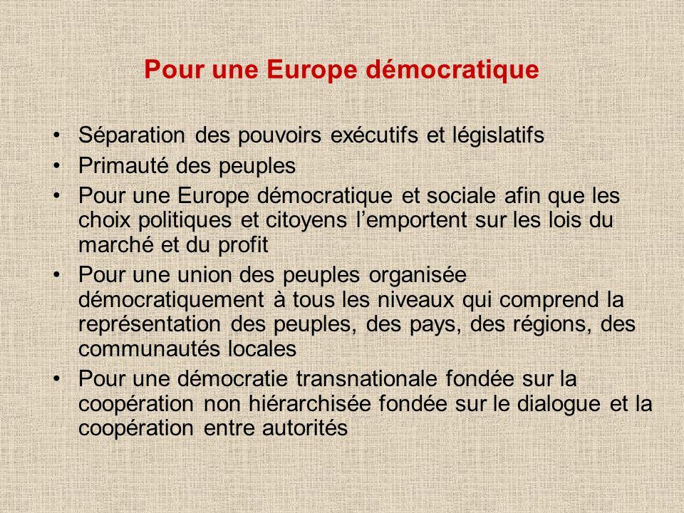Séparation des pouvoirs exécutifs et législatifs Primauté des peuples Pour une Europe démocratique et sociale afin que les choix politiques et citoyen