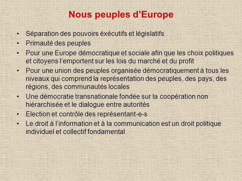 Nous peuples dEurope Séparation des pouvoirs éxécutifs et législatifs Primauté des peuples Pour une Europe démocratique et sociale afin que les choix