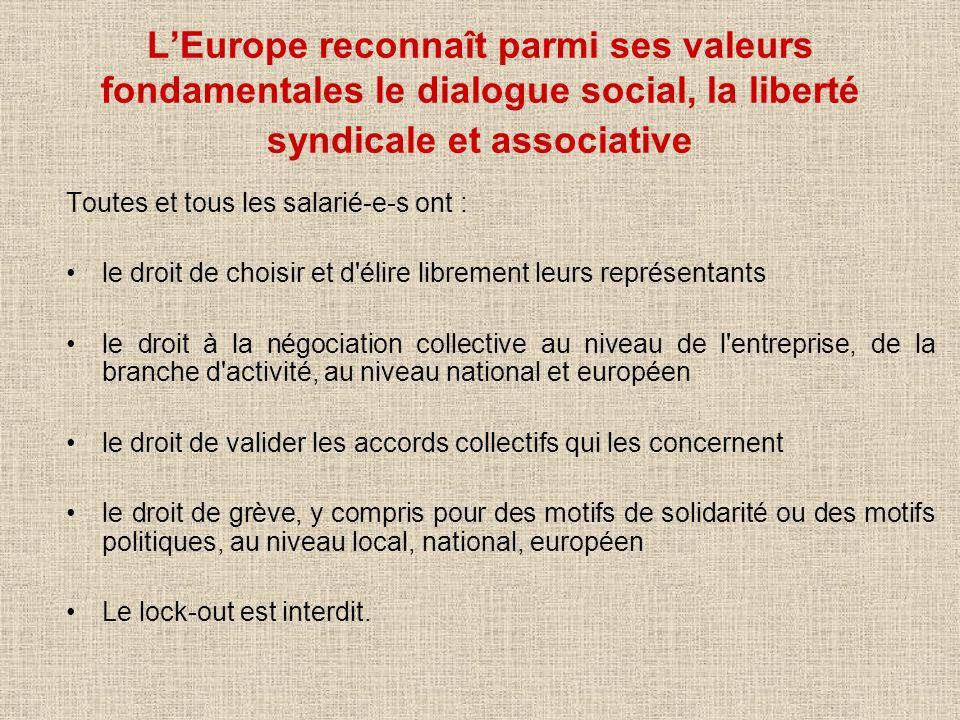 LEurope reconnaît parmi ses valeurs fondamentales le dialogue social, la liberté syndicale et associative Toutes et tous les salarié-e-s ont : le droi