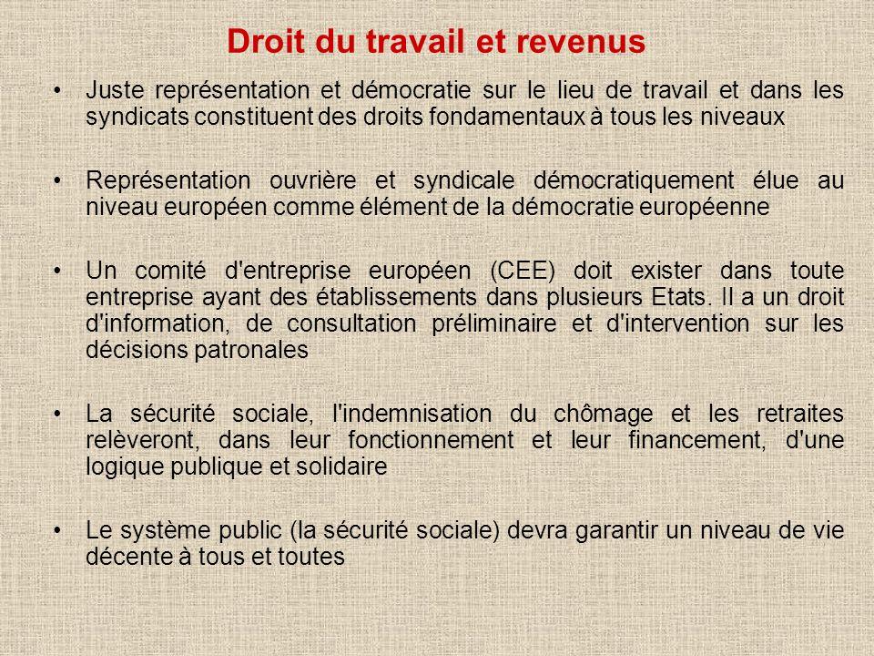 Droit du travail et revenus Juste représentation et démocratie sur le lieu de travail et dans les syndicats constituent des droits fondamentaux à tous