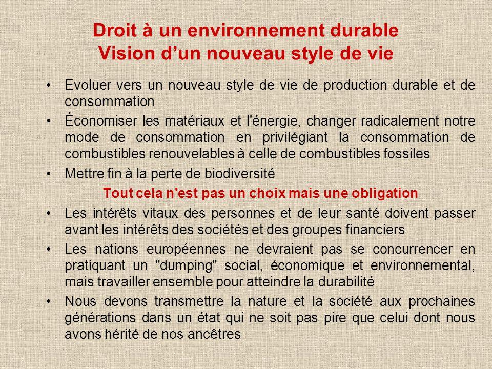 Droit à un environnement durable Vision dun nouveau style de vie Evoluer vers un nouveau style de vie de production durable et de consommation Économi