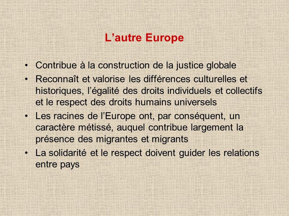 Lautre Europe Contribue à la construction de la justice globale Reconnaît et valorise les différences culturelles et historiques, légalité des droits