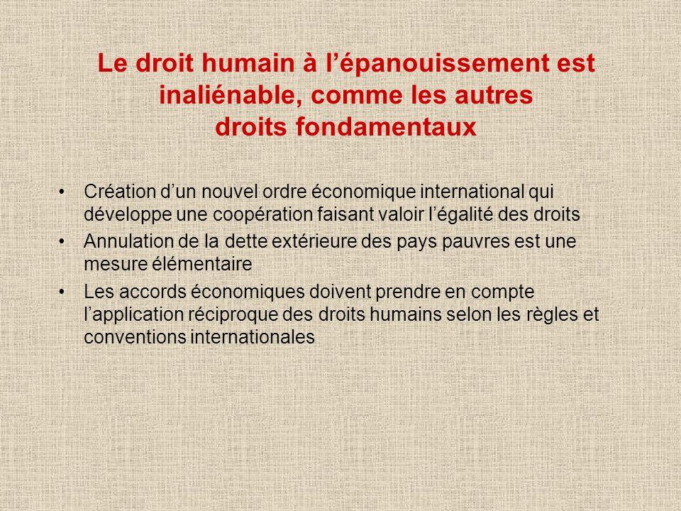 Le droit humain à lépanouissement est inaliénable, comme les autres droits fondamentaux Création dun nouvel ordre économique international qui dévelop