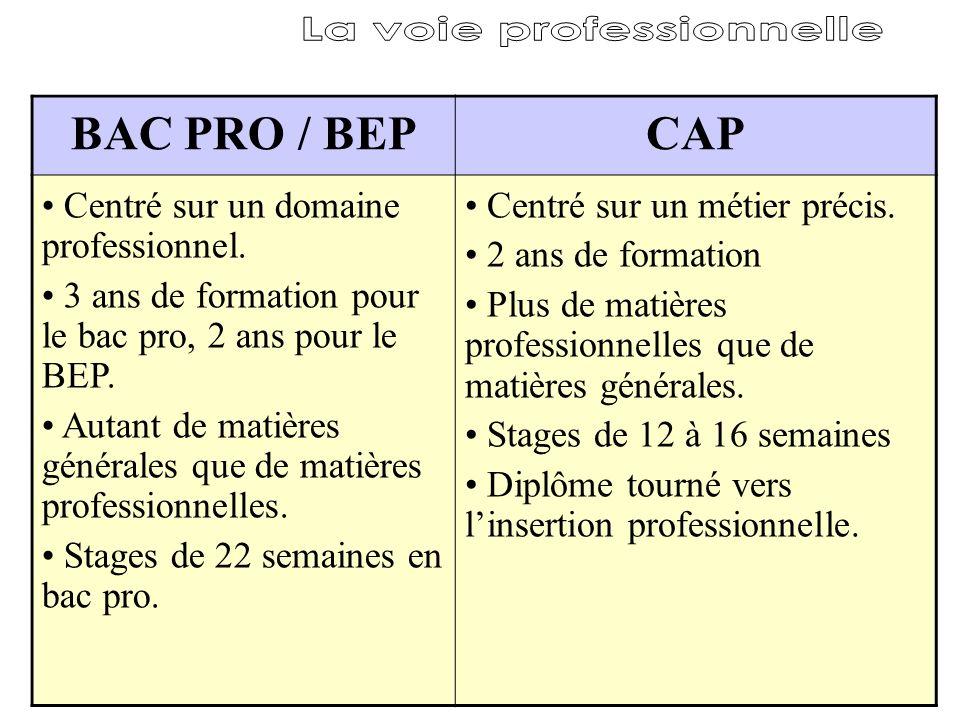 BAC PRO / BEPCAP Centré sur un domaine professionnel. 3 ans de formation pour le bac pro, 2 ans pour le BEP. Autant de matières générales que de matiè