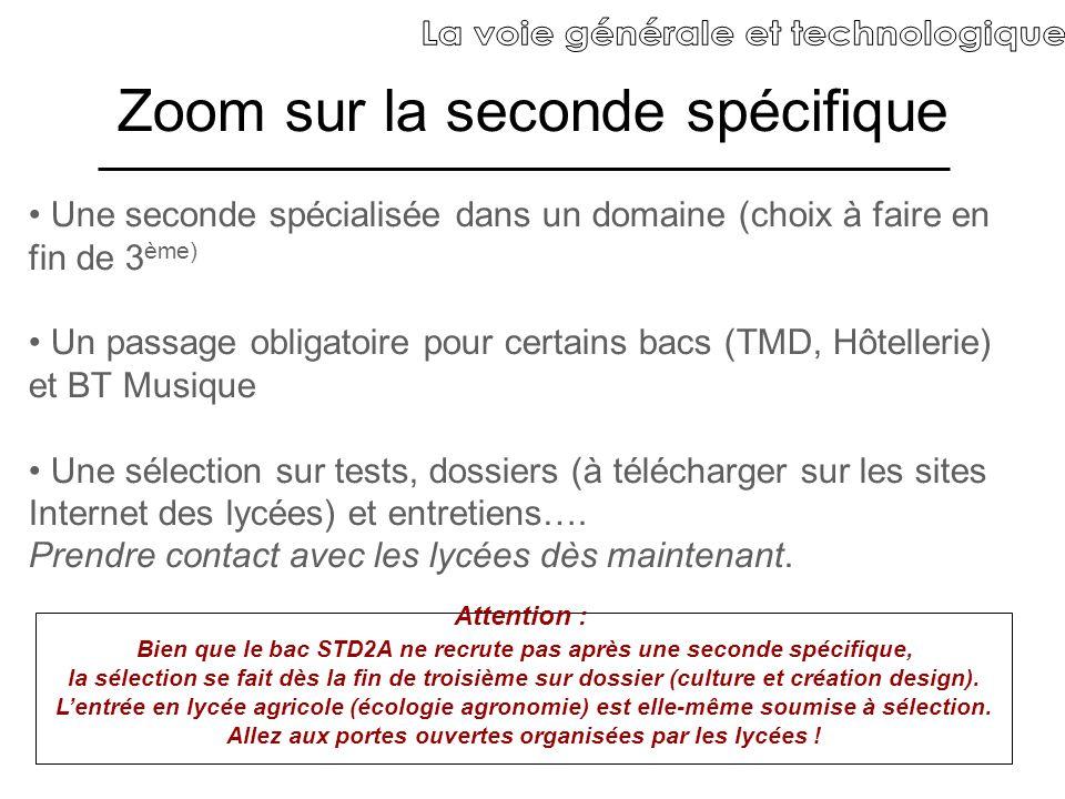 Zoom sur la seconde spécifique Une seconde spécialisée dans un domaine (choix à faire en fin de 3 ème) Un passage obligatoire pour certains bacs (TMD,