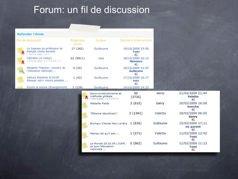 Forum: un fil de discussion