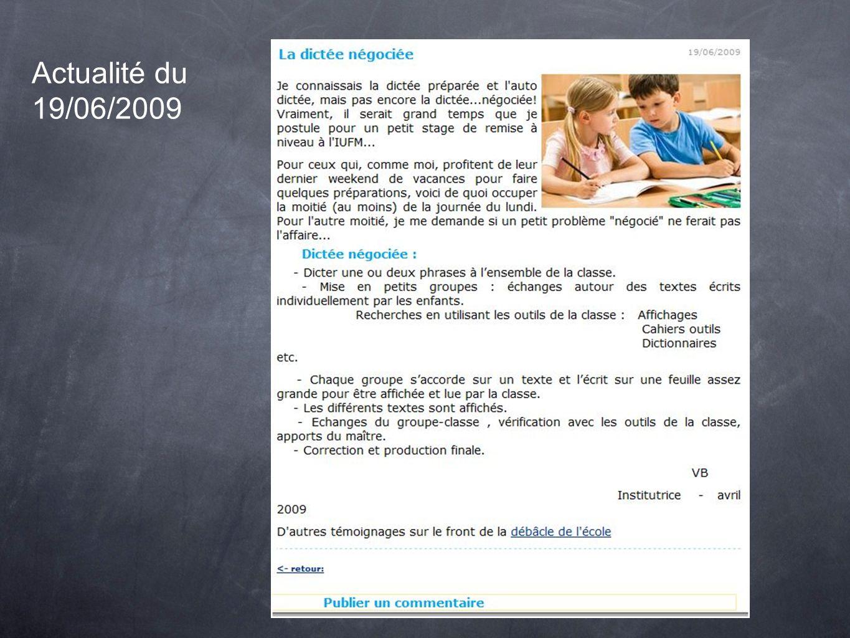 Actualité du 19/06/2009