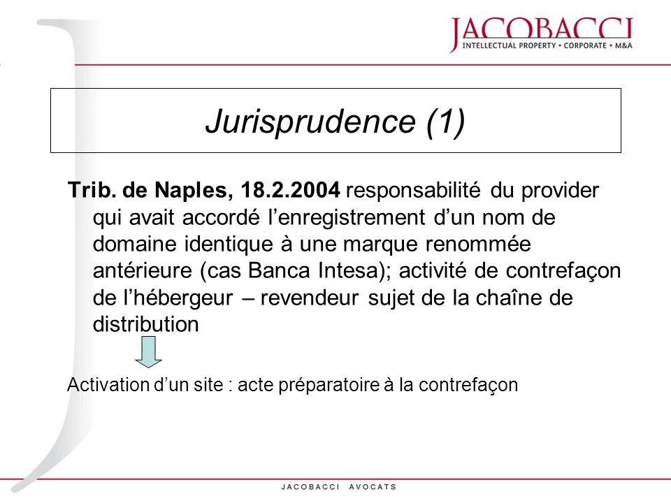 Jurisprudence (1) Trib. de Naples, 18.2.2004 responsabilité du provider qui avait accordé lenregistrement dun nom de domaine identique à une marque re
