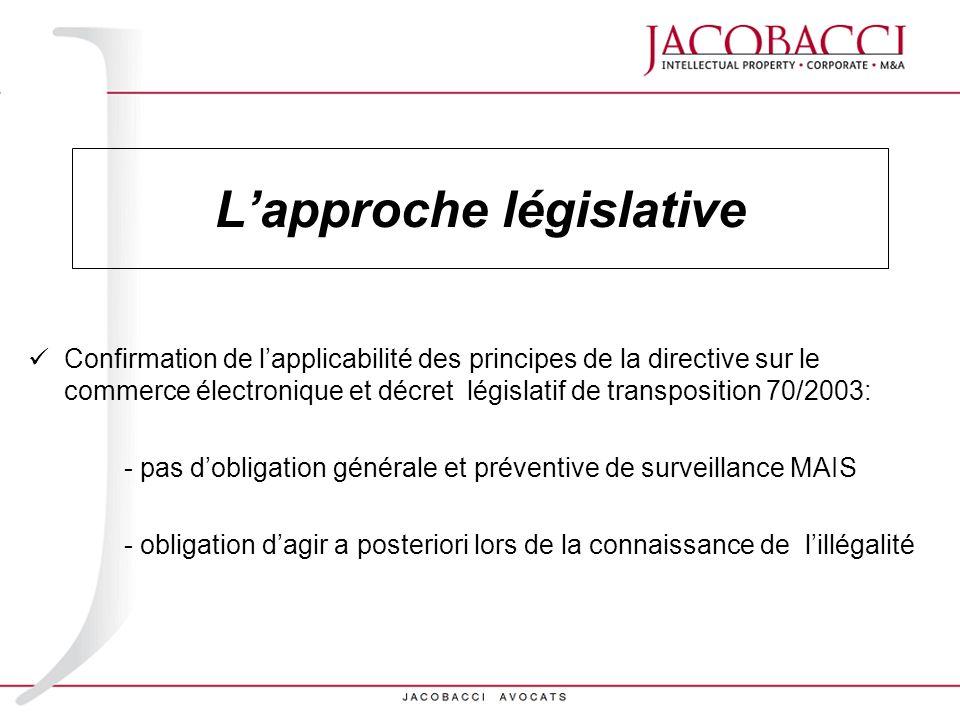 Lapproche législative Confirmation de lapplicabilité des principes de la directive sur le commerce électronique et décret législatif de transposition