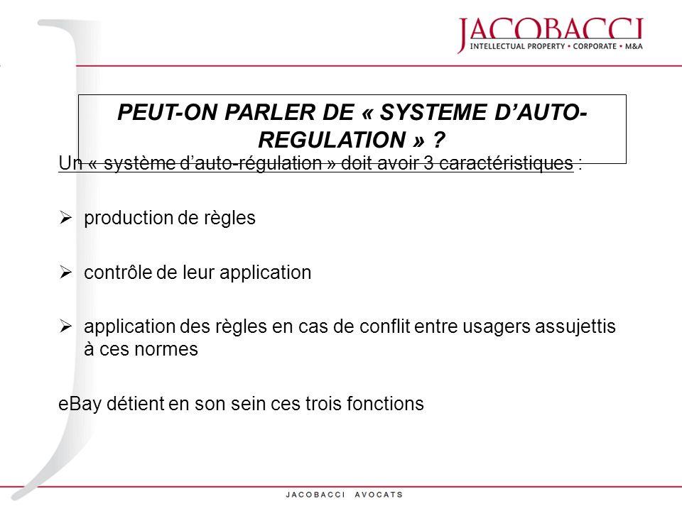 Un « système dauto-régulation » doit avoir 3 caractéristiques : production de règles contrôle de leur application application des règles en cas de con