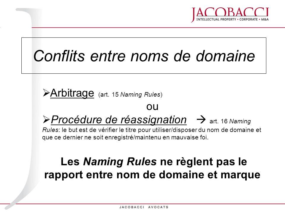 Arbitrage (art. 15 Naming Rules) ou Procédure de réassignation art. 16 Naming Rules: le but est de vérifier le titre pour utiliser/disposer du nom de