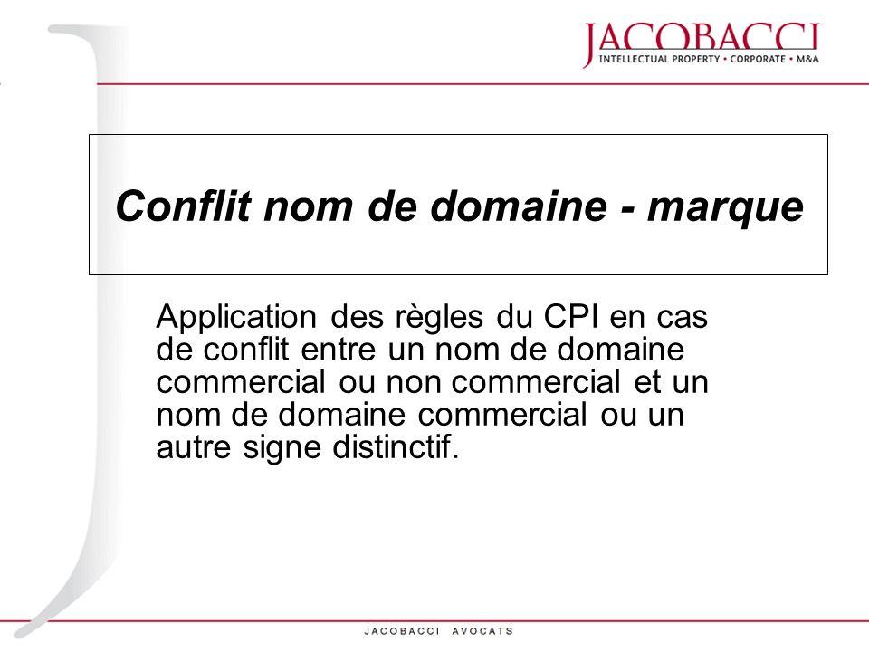 Conflit nom de domaine - marque Application des règles du CPI en cas de conflit entre un nom de domaine commercial ou non commercial et un nom de doma