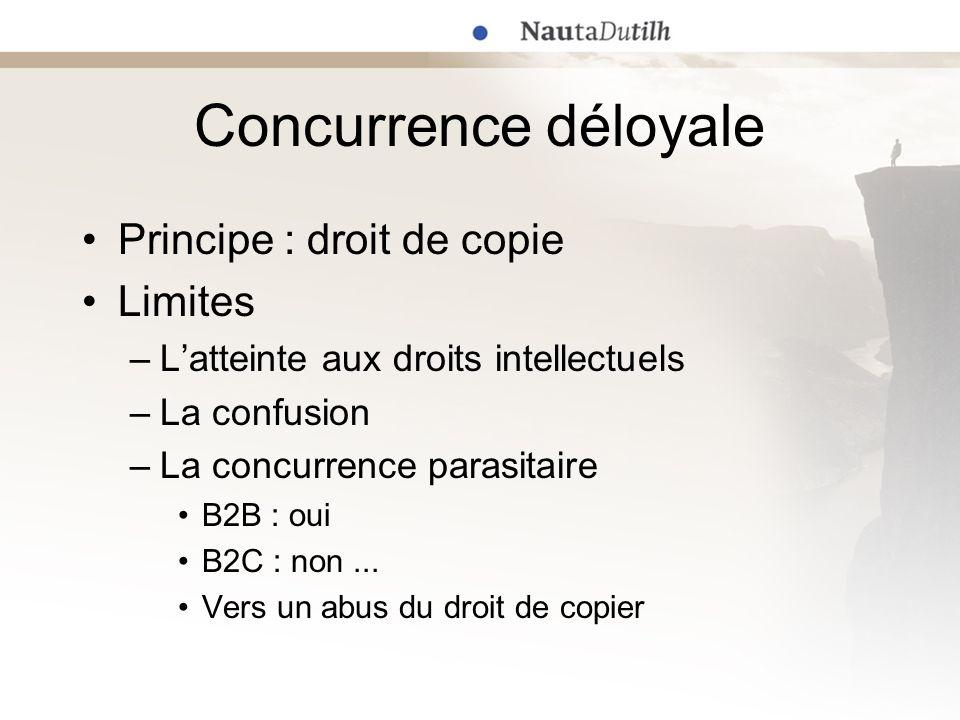 Concurrence déloyale Droits intellectuels / concurrence déloyale Théorie de leffet réflexe des droits intellectuels.