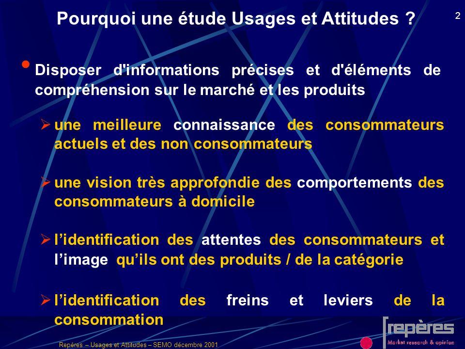 Repères – Usages et Attitudes – SEMO décembre 2001 2 Pourquoi une étude Usages et Attitudes ? Disposer d'informations précises et d'éléments de compré