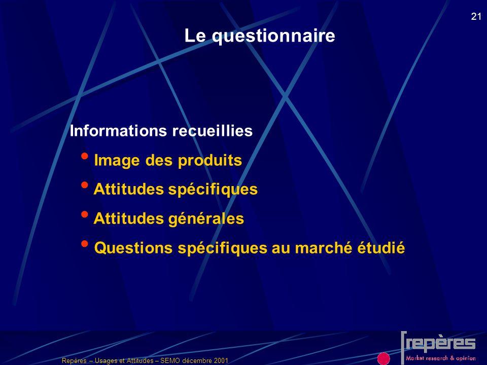 Repères – Usages et Attitudes – SEMO décembre 2001 21 Informations recueillies Image des produits Attitudes spécifiques Attitudes générales Questions