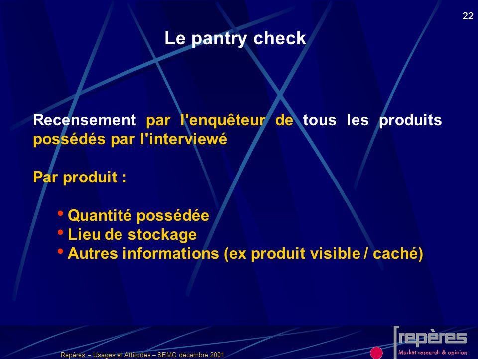 Repères – Usages et Attitudes – SEMO décembre 2001 22 Le pantry check Recensement par l'enquêteur de tous les produits possédés par l'interviewé Par p