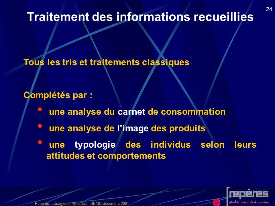 Repères – Usages et Attitudes – SEMO décembre 2001 24 Traitement des informations recueillies Tous les tris et traitements classiques Complétés par :