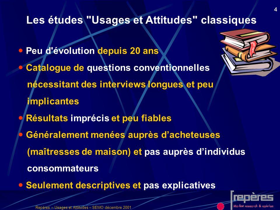 Repères – Usages et Attitudes – SEMO décembre 2001 4 Les études