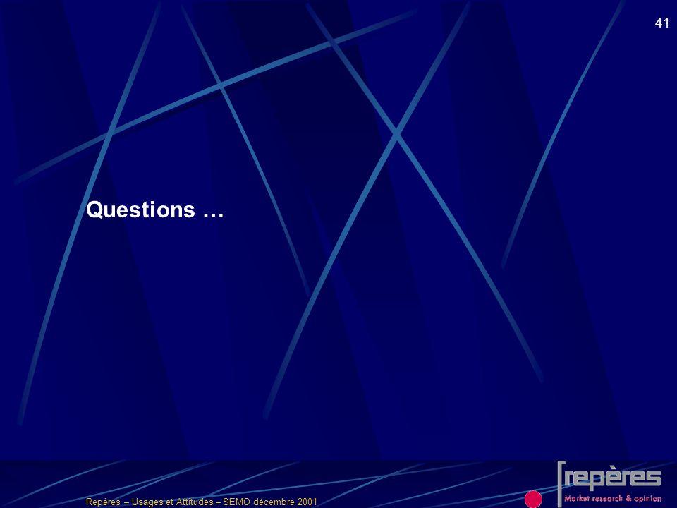 Repères – Usages et Attitudes – SEMO décembre 2001 41 Questions …